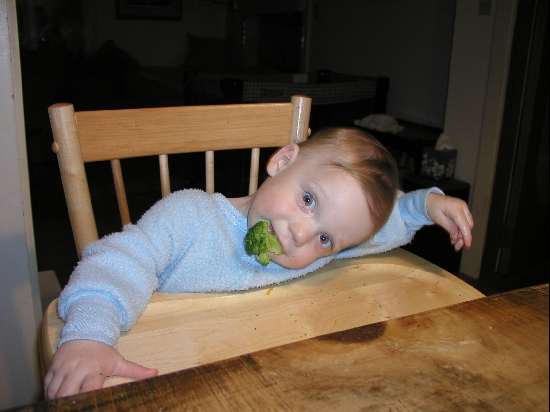 Zeke, my son, loves broccoli.  Cute as a button too, in my completely unbaised opinion.  :-)